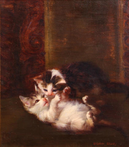 Elizabeth Strong (American, 1855-1941) Two kittens playing, 1891 16 1/4 x 13in
