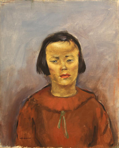 George Chann (Chinese/American, 1913-1995) Girl in a red blouse 20 x 16in