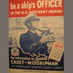 A group of three posters for the U.S. Maritime Service<br> 44-1/4 x 30-3/4 in. (112.3 x 78.1 cm.) framed, the two larger; 30-3/4 x 23-1/4 in. (78.1 x 59 cm.) framed, the smaller.<br> not examined out of the frames) (3