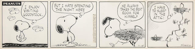 A Charles Schulz 4-panel Peanuts daily
