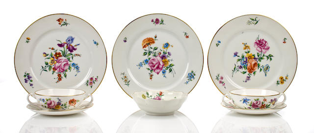 A French porcelain part table service 20th century, retailed by Tiffany & Co., New York