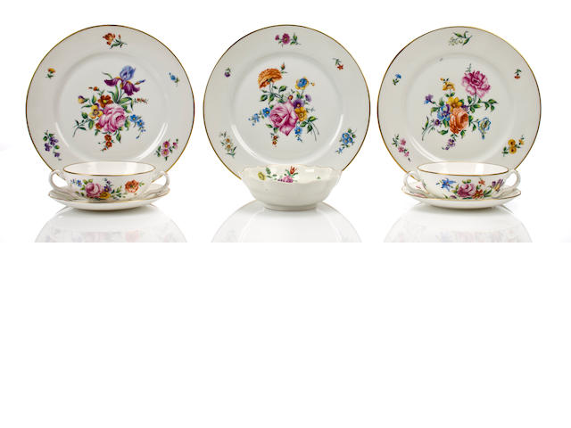 Sevres porcelain part table service including thirteen plates, a small bowl, thirteen bullion bowls, and twelve saucers