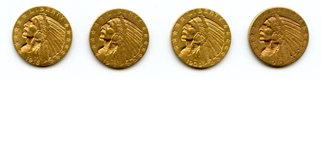 1909, 1910, 1913, 1915 $5