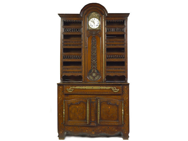 A Louis XV Provincial inlaid fruitwood buffet a l'heure
