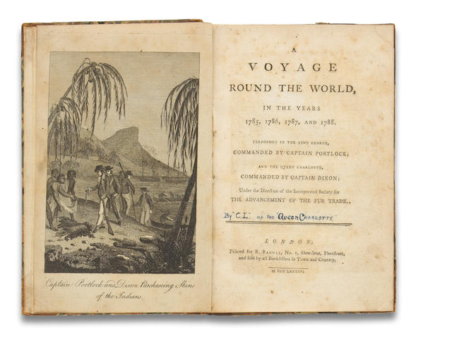 [PORTLOCK, NATHANIEL & GEORGE DIXON.] LAUDER, WILLIAM COLIN. A Voyage Round the World, in the Years 1785, 1786, 1787, and 1788, Performed in the King George, Commanded by Captain Portlock; and the Queen Charlotte, Commanded by Captain Dixon; under the Direction of the Incorporated Society for the Advancement of the Fur Trade. London: for R. Randal, 1789.