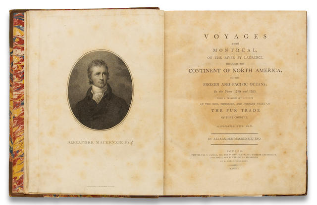 MACKENZIE, ALEXANDER, SIR. 1764-1820. Voyages from Montreal on the River St. Laurence London: for T. Cadell, Jun. and W. Davies ... by R. Noble, 1801.