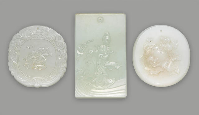 A group of three Chinese nephride pendants