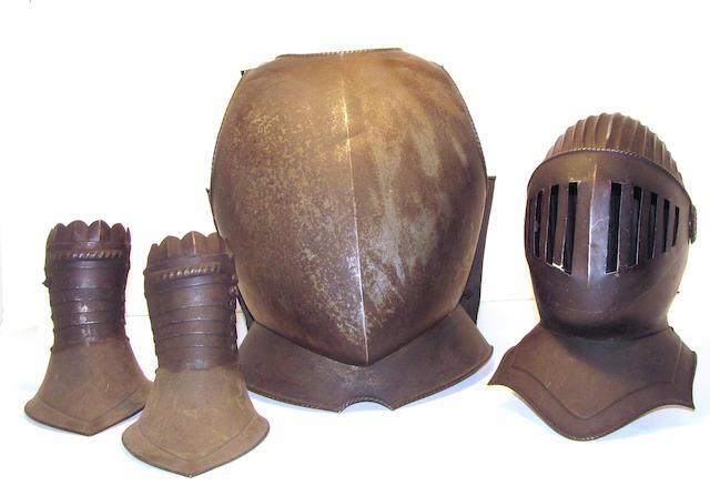 An armor ensemble in 16th century style