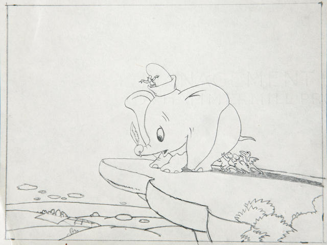 Three Walt Disney preliminary storyboard drawings from Dumbo