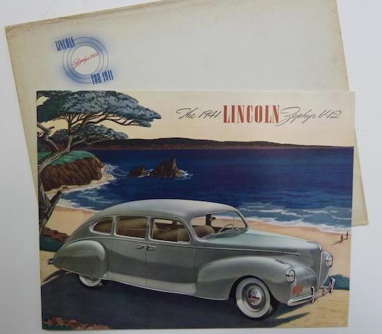 A Lincoln Zephyr Sales Brochure, 1941,
