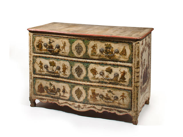 A Venetian Baroque polychrome painted commode with three drawers circa 1750 with later painted decoration height 34 1/2in; width 50in; depth 25in