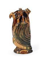 A rare Moravian glazed pottery owl bottle, Salem, N. Carolina, Early 19th c