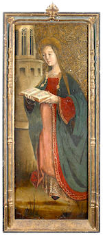 Spanish School, 16th Century Saint Barbara 39 3/4 x 15 1/2in (101 x 39.4cm)