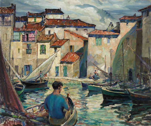 Myron Angelo Oliver (American, 1891-1967) Fisherman's cove, Martigues, France 25 x 30 1/4in unframed