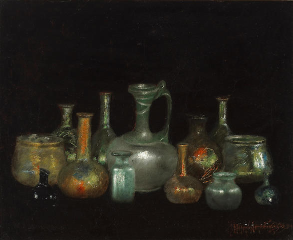 (n/a) Henry  Alexander (American, 1860-1895) Still life with Cyprus glasses 15 1/2 x 19in