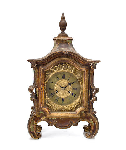 A German carved and gilt wood quarter striking table clockSigned Langschwert, Wirzburg, mid 18th century
