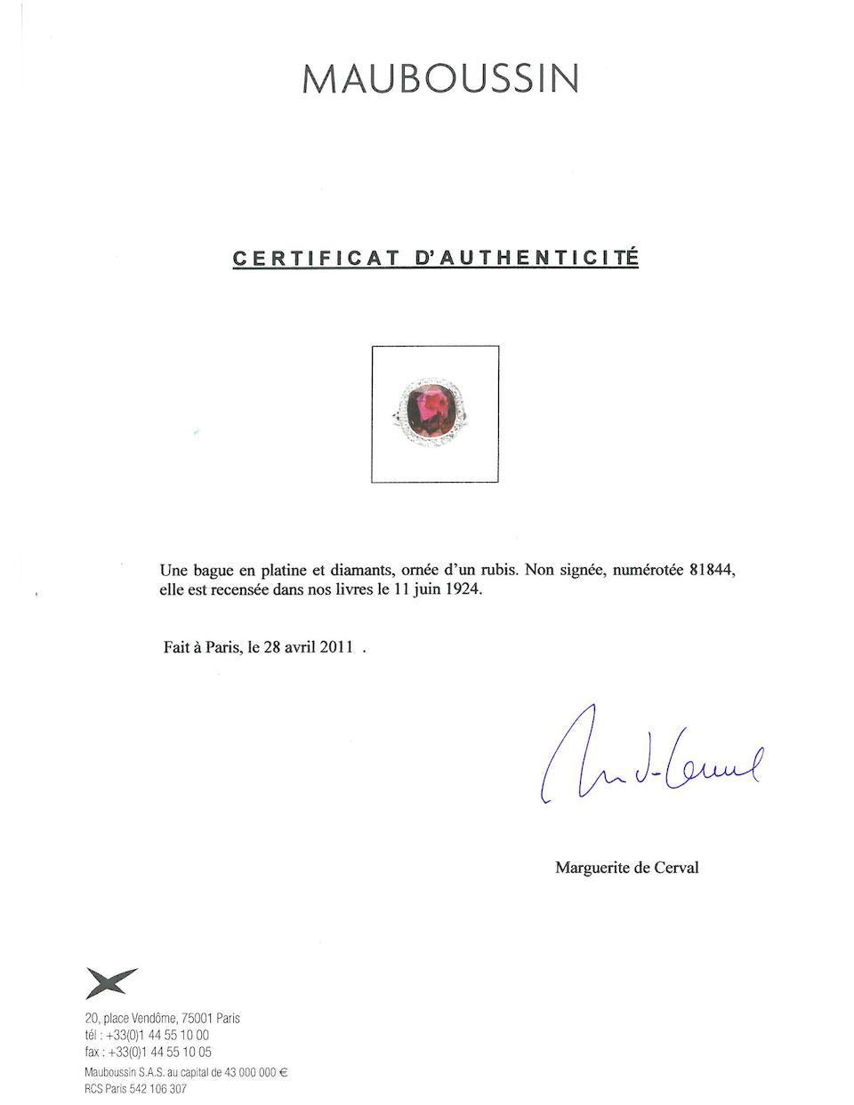 An art deco ruby and diamond ring, Mauboussin,