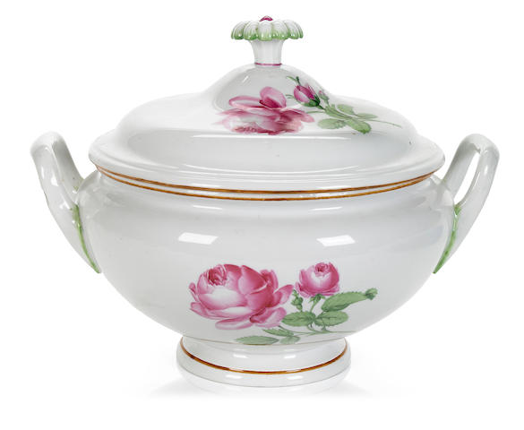 A German porcelain covered soup tureen