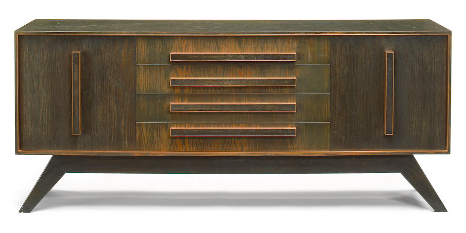 A William Haines oak and copper sideboard circa 1956
