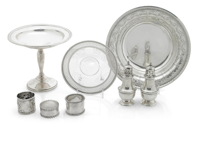 A group of silver and silver mounted table articles and flatware