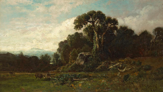 William Keith (Scottish/American, 1838-1911) Santa Barbara Hills, 1882 15 1/2 x 27 1/2in