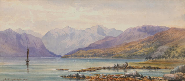 Gilbert Munger (American, 1837-1903) Alpine lake scene, 1870 sight: 6 x 13 1/2in