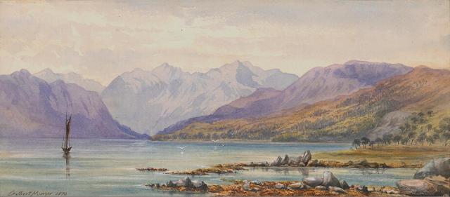 (n/a) Gilbert Munger (American, 1837-1903) Mountain lake, 1870 sight: 6 x 13 1/2in