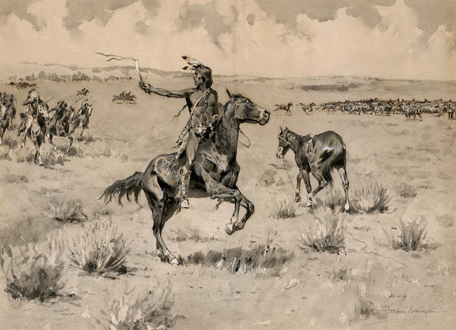 Frederic Remington (American, 1861-1909) Indians on horseback