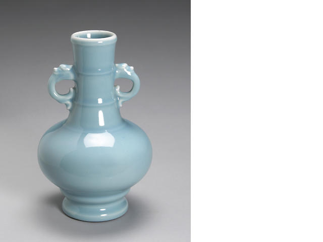 A sky-blue glazed porcelain vase with elephant hand decorated handles, Yongzheng mark, Republic Period