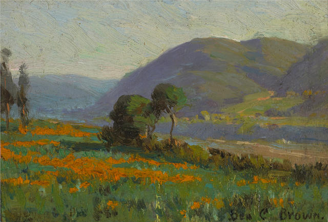 Benjamin C. Brown (American, 1865-1942) Poppy field near Pasadena, California, 1907 4 x 6in