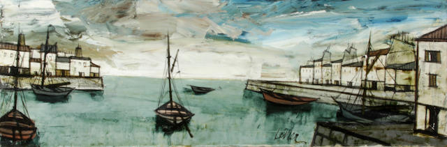 (n/a) Charles Levier (French, 1920-2004) Port view 15 1/8 x 44 1/4in