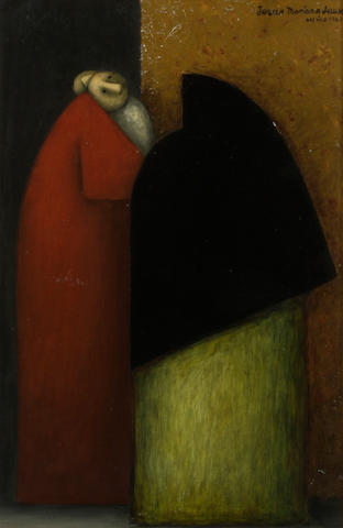 Jesus Mariano Leuus (Mexican, born 1948) Two figures, 1961 17 3/4 x 11 7/8in