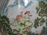 A large polychrome enameled porcelain '100 Deer' vase Qianlong Mark, Late Qing/Republic Period
