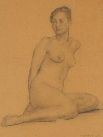 (n/a) Lawton Silas Parker (American, 1868-1954) Seated woman in a dress; Seated nude; Back of a seated nude; View of an aqueduct; Profile of a young woman; Woman in a hat; Portrait of a bearded man (group of 7) first 24 x 18in; second 8 3/4 x 6 1/2in; third 5 1/4 x 4 1/2in; fourth 10 1/4 x 7 1/4in; fifth 7 1/2 x 6in; sixth 6 1/4 x 5in; seventh 6 3/4 x 4 1/2in first, second, third and fourth unframed
