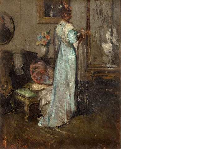 Lady in Blue. 1906. Maurice Molarsky. Oil on wood panel with oil sketch on back. unfinished.
