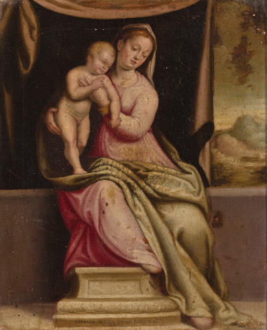 Barbara Longhi<br>Madonna and Child<br>oil on canvas <br>10 x 8 inches