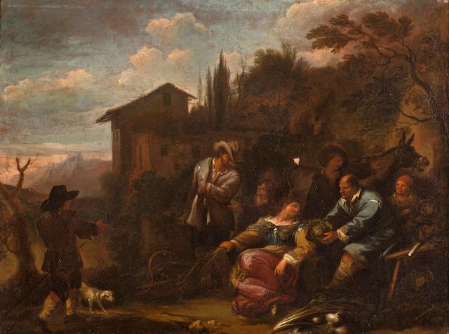 Dirk-Theodor Helmbreker (Haarlem 1633-1696 Rome) The cabbage seller; A traveler passing through a village market (a pair) each 19 1/2 x 26in (49.5 x 66cm)