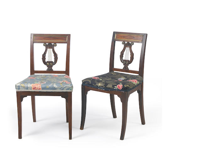 A set of six Empire brass mounted mahogany side chairs<br>first quarter 19th century