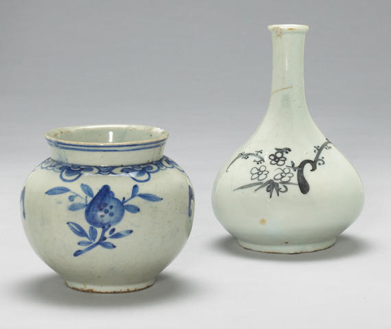 Two blue and white porcelain containers: a globular jar with bat and peach design (chips, crack) and a wine bottle with bamboo design (star cracks) Late Joseon Dynasty