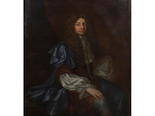 Attributed to Sir Godfrey Kneller (British, 1646-1723) A portrait of a gentleman, thought to be Sir John Southwell 49 1/2 x 40in