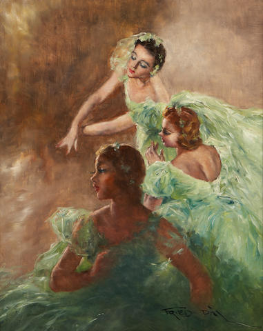 (n/a) Pal Fried (Hungarian/American, 1893-1976) Three ballerinas 30 x 24in