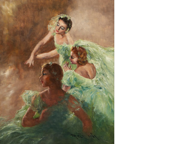 Pal Fried (Hungarian/American, 1893-1976) Three ballerinas 30 x 24in