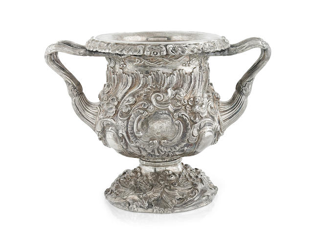 A George IV silver wine cooler Maker's mark rubbed, probably  Robert Gainsford, Sheffield, 1822  <br>With armorial for the Bolckow family