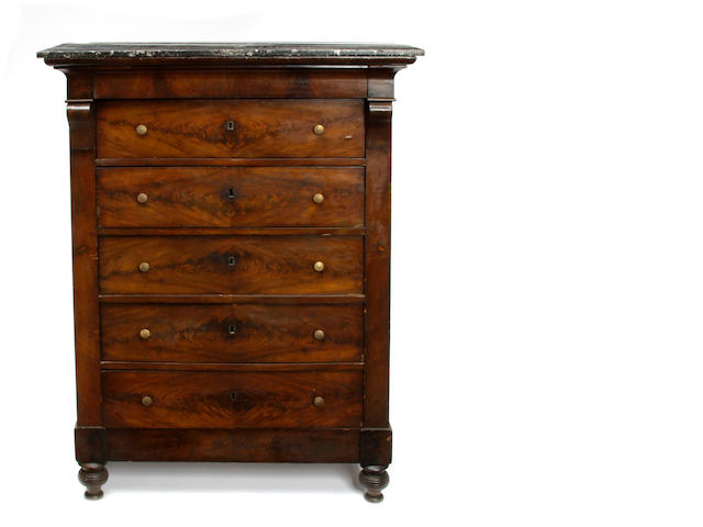 An American Neoclassical style mahogany tall chest of drawers