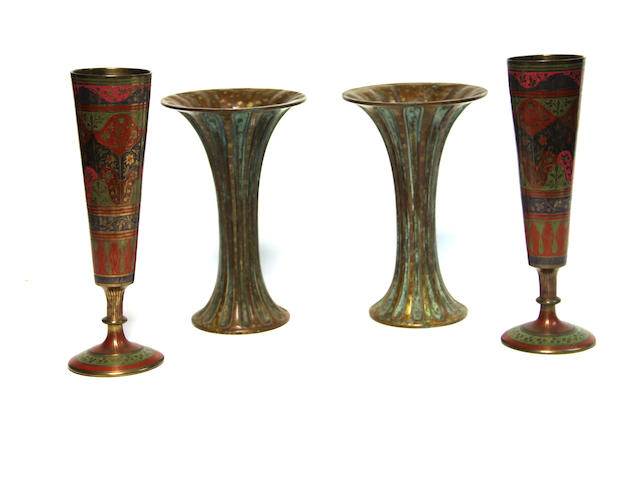 A pair of Chinese style archaistic bronze vases