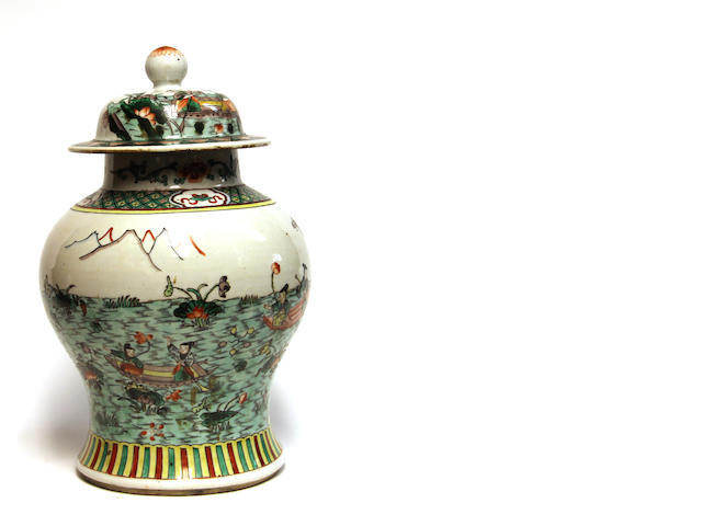 A Chinese famille verte enameled porcelain covered jar  20th Century