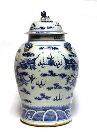 A Chinese blue and white porcelain covered vase Late Qing Dynasty