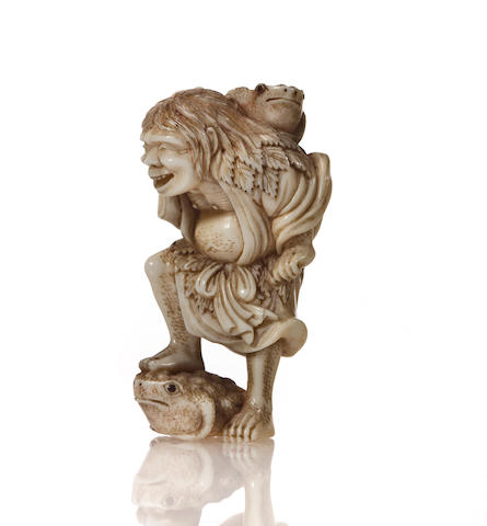 Ivory netsuke of Gama sen'nin, by Hide
