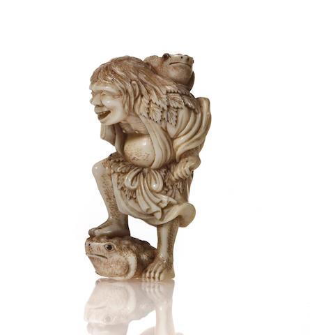 Ivory netsuke of Gama sen'nin, by Hide