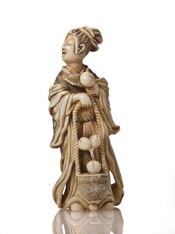 A large ivory netsuke of Seiobo 19th century
